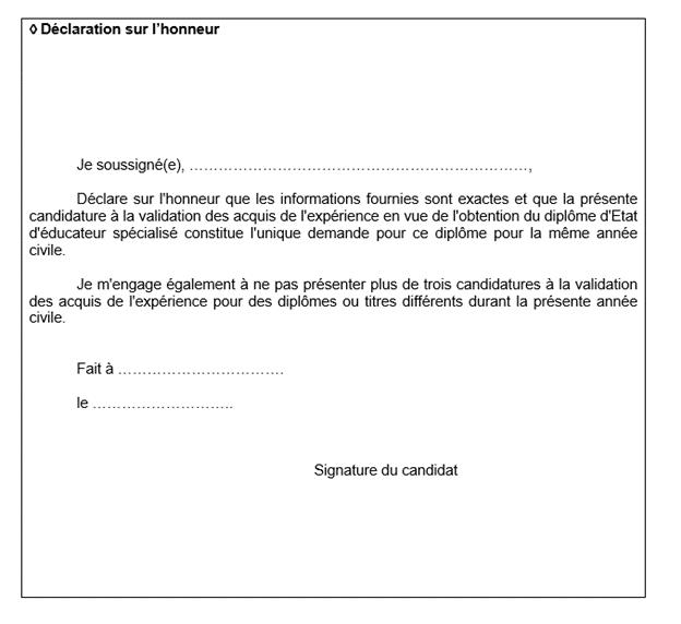 déclaration sur l'honneur livret 1 es