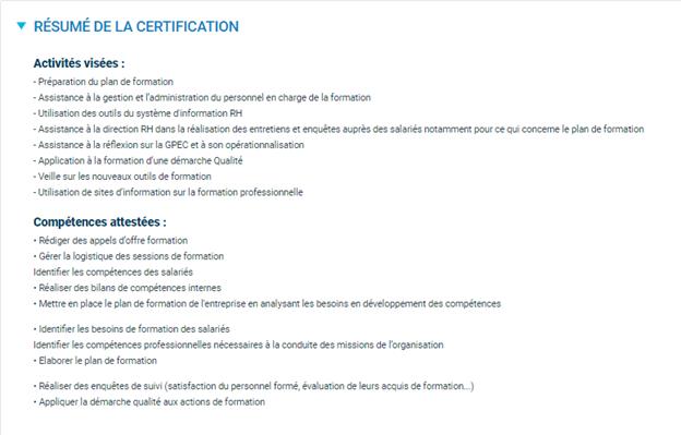 certification licence RH VAE